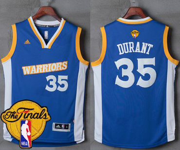 Men's Warriors #35 Kevin Durant Royal Stretch Crossover 2017 The Finals Patch Stitched NBA Jersey