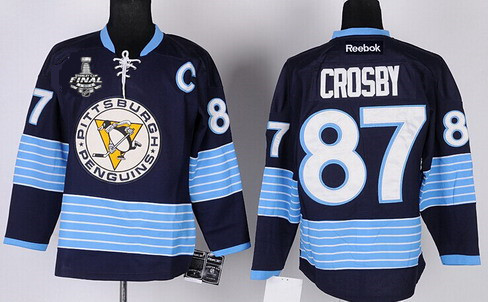 wholesale dealer 02355 d3d1c Men's Pittsburgh Penguins #87 Sidney Crosby Navy Blue Third ...