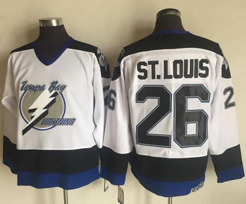a7f51706929 Men's Tampa Bay Lightning #26 Martin St. Louis White 2003-04 Throwback  Stitched