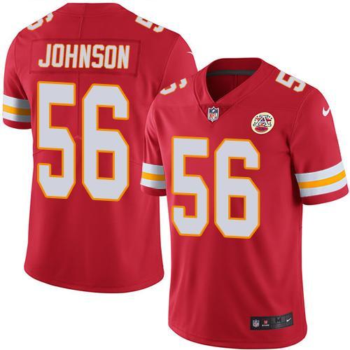 Nike Kansas City Chiefs #56 Derrick Johnson Red Team Color Men's Stitched NFL Vapor Untouchable Limited Jersey