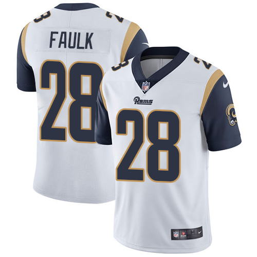 Nike Los Angeles Rams #28 Marshall Faulk White Men's Stitched NFL Vapor Untouchable Limited Jersey