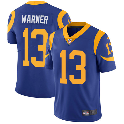 Nike Los Angeles Rams #13 Kurt Warner Royal Blue Alternate Men's Stitched NFL Vapor Untouchable Limited Jersey
