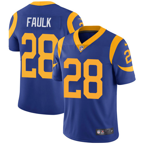 Nike Los Angeles Rams #28 Marshall Faulk Royal Blue Alternate Men's Stitched NFL Vapor Untouchable Limited Jersey