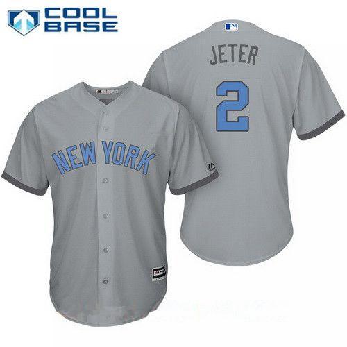 huge discount 30c3f d7d0a Men's New York Yankees #2 Derek Jeter Gray With Baby Blue ...