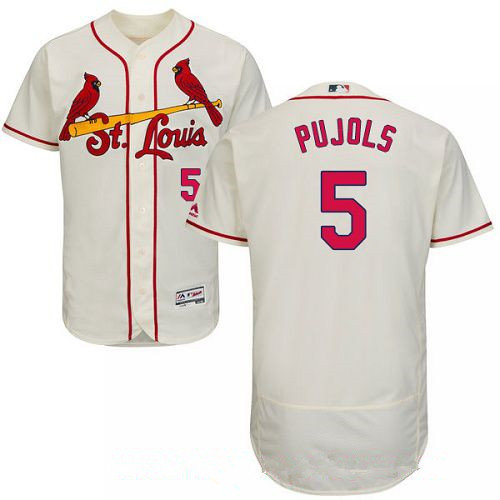 Men's St. Louis Cardinals #5 Albert Pujols Cream Alternate Stitched MLB Majestic Flex Base Jersey