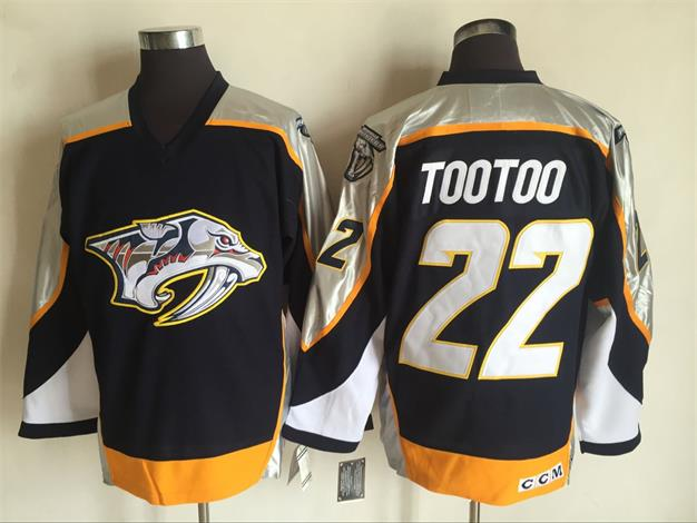 Men s Nashville Predators  22 Jordin Tootoo Navy Blue 1998-99 Throwback  Stitched NHL CCM Vintage Hockey Jersey 5424eddee