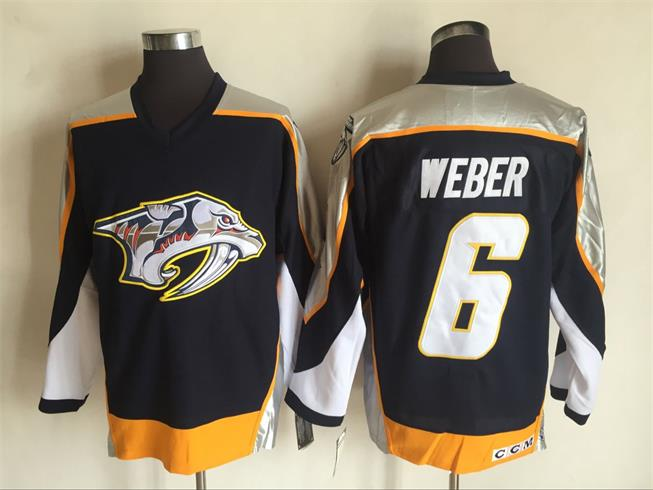 Men s Nashville Predators  6 Shea Weber Navy Blue 1998-99 Throwback Stitched  NHL CCM a6b39a89f