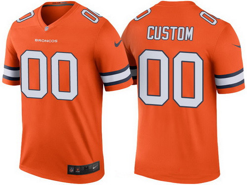 pretty nice 77ab1 0ac77 Men's Denver Broncos Orange Custom Color Rush Legend NFL ...