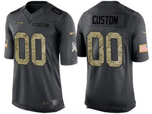 Men's Seattle Seahawks Custom Anthracite Camo 2016 Salute To Service Veterans Day NFL Nike Limited Jersey