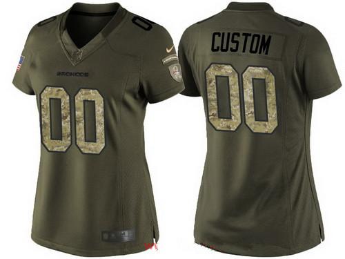Wholesale Women's Denver Broncos Custom Olive Camo Salute To Service Veterans  for sale