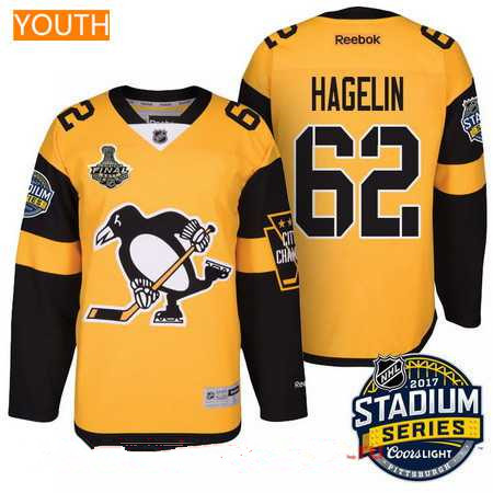 detailed look 7cb0f a9fae Youth Pittsburgh Penguins #62 Carl Hagelin Yellow Stadium ...