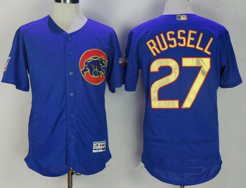 best service 43265 3e373 Men's Chicago Cubs #27 Addison Russell Royal Blue World ...