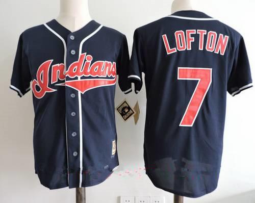 9de443d1d Men s Cleveland Indians  7 Kenny Lofton Navy Blue Throwback 1995 World  Series Patch Stitched MLB