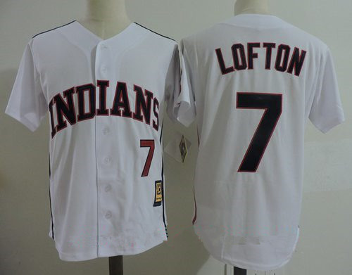 Men's Cleveland Indians #7 Kenny Lofton White Home Stitched MLB ...