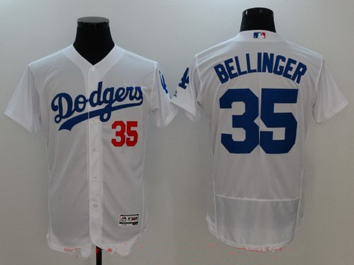 b6957c00526 Men s Los Angeles Dodgers  35 Cody Bellinger White Home Stitched MLB  Majestic Flex Base Jersey