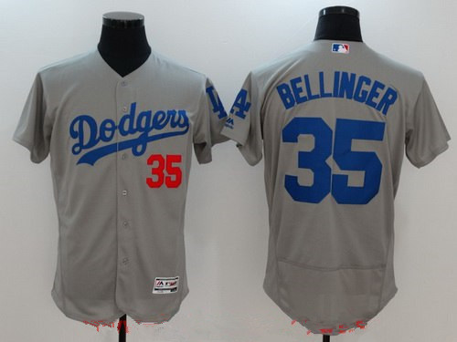 54aba5dd Men's Los Angeles Dodgers #35 Cody Bellinger Gray Alternate Stitched MLB  Majestic Flex Base Jersey