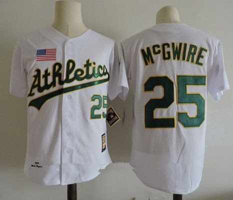 low priced bed6f 8c374 Men's Oakland Athletics #25 Mark Mcgwire White 1989 World ...