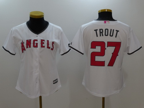 Women's Los Angeles Of Anaheim #27 Mike Trout White With Pink Mother's Day Stitched MLB Majestic Cool Base Jersey