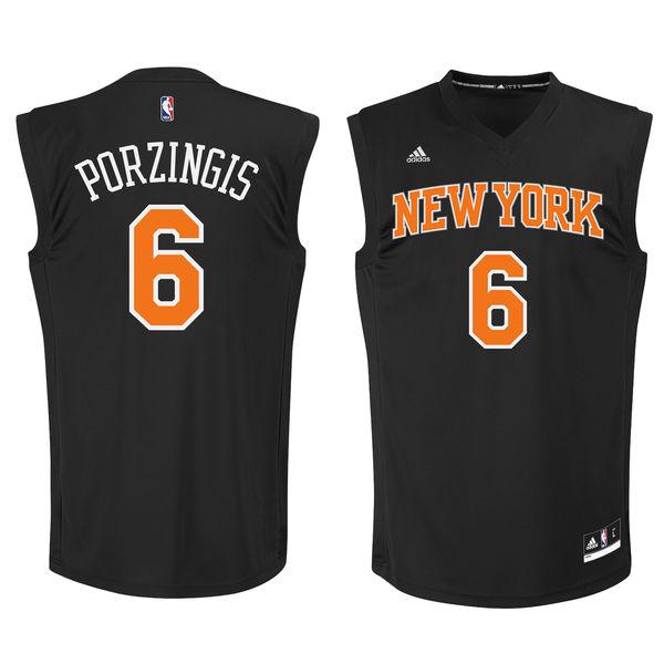 big sale e5463 919c3 New York Knicks #6 Kristaps Porzingis Black Fashion Replica ...