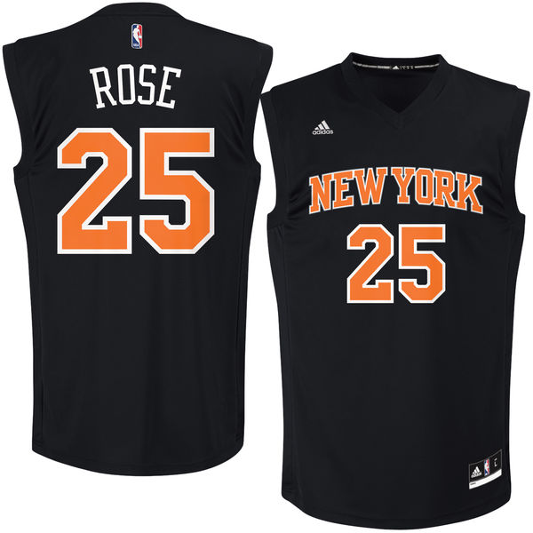 New York Knicks  25 Derrick Rose Black Fashion Replica Jersey on ... 8ae49a270