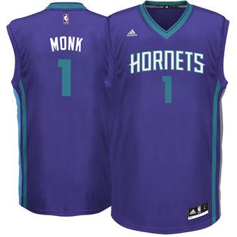 244f6a3dd Men s Charlotte Hornets  1 Malik Monk adidas Purple 2017 NBA Draft Pick  Replica Jersey