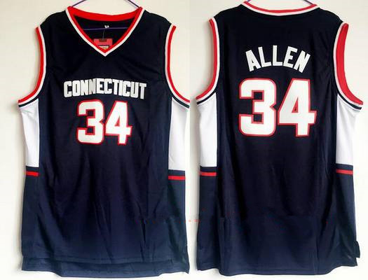 Men's University Of Connecticut #34 Ray Allen Navy Blue College Basketball Swingman Stitched NCAA Jersey