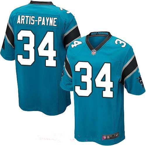 Men's Carolina Panthers #34 Cameron Artis-Payne Light Blue Alternate Stitched NFL Nike Game Jersey