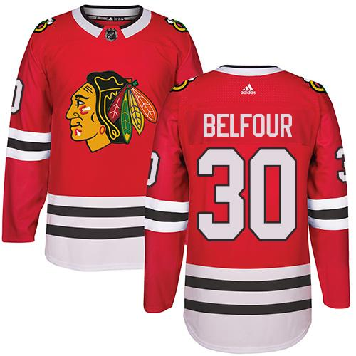 Adidas Chicago Blackhawks #30 ED Belfour Red Home Authentic Stitched NHL Jersey