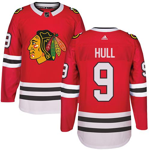 Adidas Chicago Blackhawks #9 Bobby Hull Red Home Authentic Stitched NHL Jersey