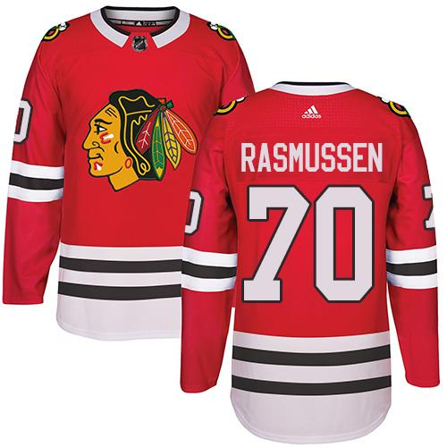 Adidas Chicago Blackhawks #70 Dennis Rasmussen Red Home Authentic Stitched NHL Jersey