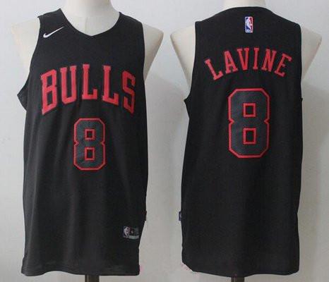 Men's Chicago Bulls #8 Zach LaVine All Black 2017-2018 Nike ...