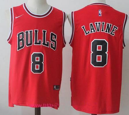 hot sale online f2a18 3643b Men's Chicago Bulls #8 Zach LaVine Red 2017-2018 Nike ...
