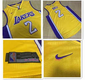 Men s Los Angeles Lakers  2 Lonzo Ball Yellow 2017-2018 Nike Swingman  Stitched NBA Jersey 92d5d0302