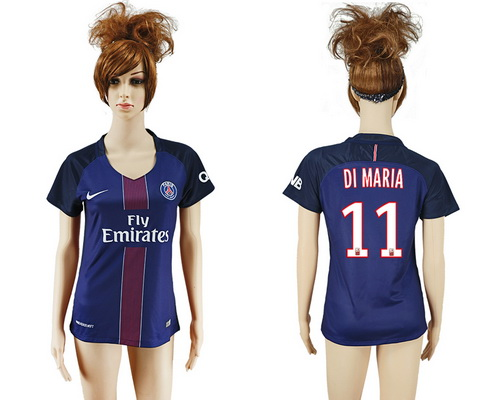 2016-17 Paris Saint-Germain #11 DI MARIA Home Soccer Women's Navy Blue AAA+ Shirt