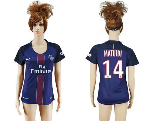 2016-17 Paris Saint-Germain #14 MATUIDI Home Soccer Women's Navy Blue AAA+ Shirt