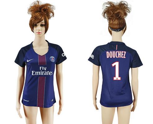 2016-17 Paris Saint-Germain #1 DOUCHEZ Home Soccer Women's Navy Blue AAA+ Shirt