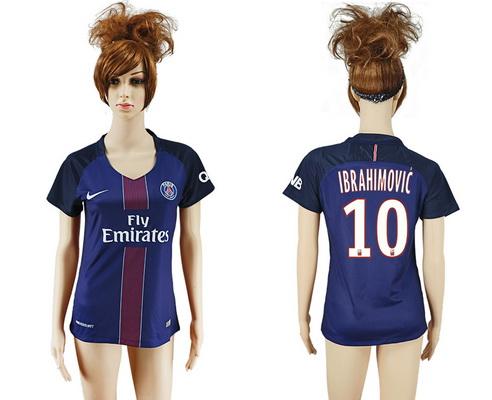 2016-17 Paris Saint-Germain #10 IBRAHIMOVIC Home Soccer Women's Navy Blue AAA+ Shirt