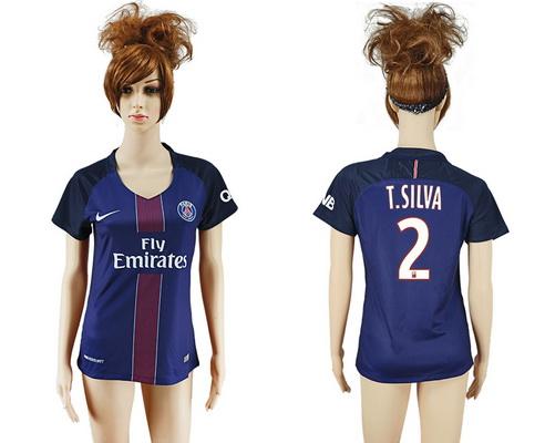 2016-17 Paris Saint-Germain #2 T.SILVA Home Soccer Women's Navy Blue AAA+ Shirt