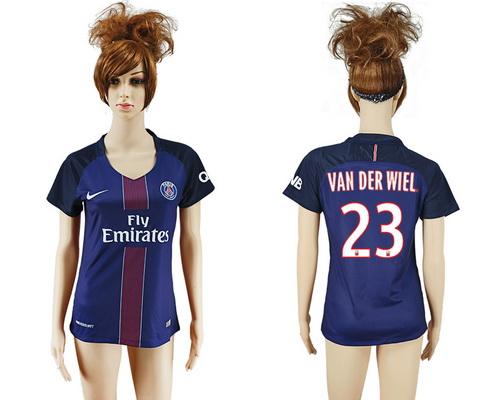 2016-17 Paris Saint-Germain #23 VAN DER WIEL Home Soccer Women's Navy Blue AAA+ Shirt