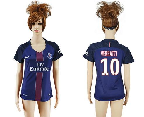 2016-17 Paris Saint-Germain #10 VERRATTI Home Soccer Women's Navy Blue AAA+ Shirt