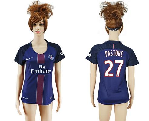 2016-17 Paris Saint-Germain #27 PASTORE Home Soccer Women's Navy Blue AAA+ Shirt