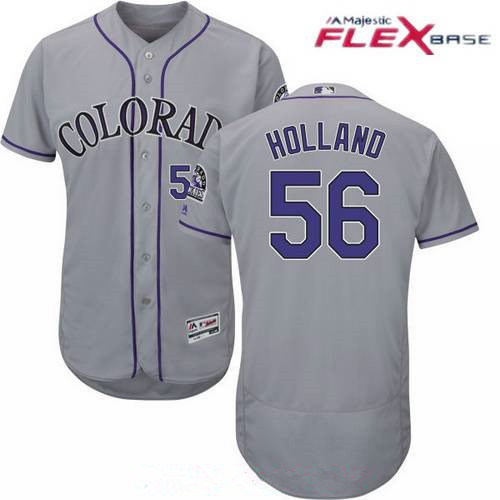 mens colorado rockies 56 greg holland gray road stitched mlb majestic flex base jersey