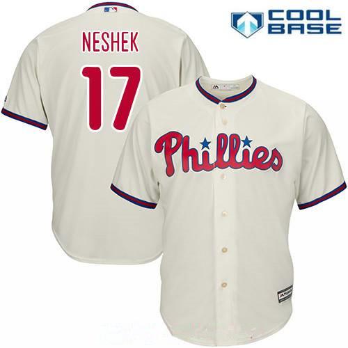 Men's Philadelphia Phillies #17 Pat Neshek White Home Stitched MLB Majestic Cool Base Jersey