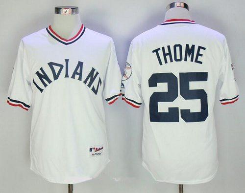 half off 96cd1 e4274 Men's Cleveland Indians #25 Jim Thome White 1973 Turn Back ...