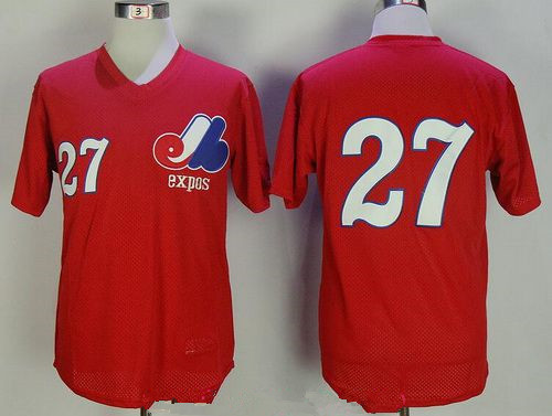 Men's Montreal Expos #27 Vladimir Guerrero Red Mesh Batting Practice Throwback Mitchell & Ness Baseball Jersey