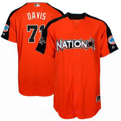 Men's National League Chicago Cubs #71 Wade Davis Majestic Orange 2017 MLB All-Star Game Home Run Derby Player Jersey