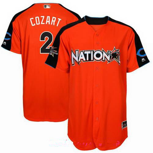 Men's National League Cincinnati Reds #2 Zack Cozart Majestic Orange 2017 MLB All-Star Game Home Run Derby Player Jersey