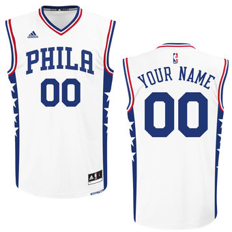 on sale f5841 ace4c Men's Philadelphia 76ers adidas White Custom Replica Home ...