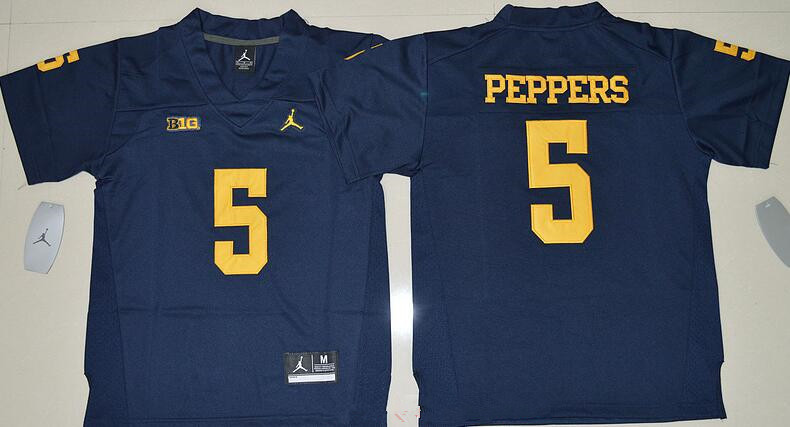 Youth Michigan Wolverines #5 Jabrill Peppers Navy Blue Stitched NCAA Brand Jordan College Football Jersey
