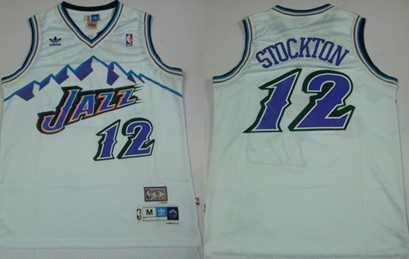 9a017b88239 Utah Jazz  12 John Stockton Mountain White Hardwood Classics Soul Swingman  Throwback Jersey